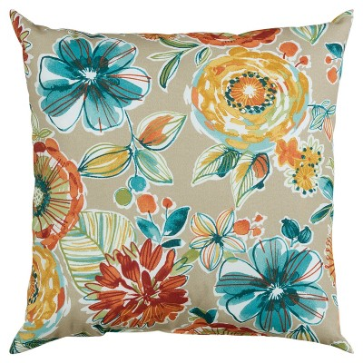 """22""""x22"""" Oversize Poly-Filled Floral Indoor/Outdoor Square Throw Pillow - Rizzy Home"""