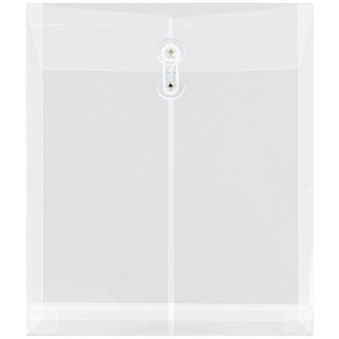JAM Paper Plastic Envelopes with Button and String Tie Closure, Letter Open End, 9 3/4'' x 11 3/4'', Clear Poly, 12pk - image 1 of 4
