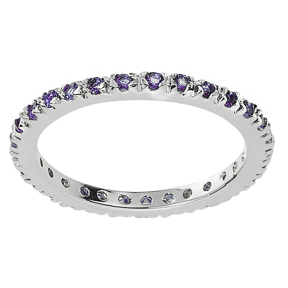 1/4 CT. T.W. Round-cut CZ Eternity Prong-set Ring in Sterling Silver - Purple, 5, Girl's
