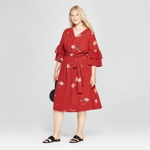 4ec2ea4e7a3 Women s Plus Size Floral Print Ruffle Sleeve Wrap Midi Dress - Ava   Viv™  Red