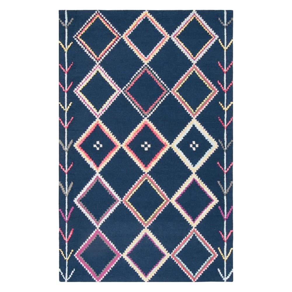 6'X9' Geometric Tufted Area Rug Navy - Safavieh, Blue/Multi-Colored