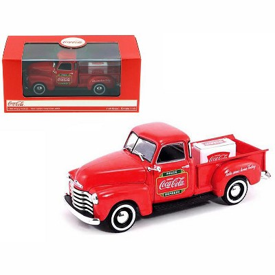 """1953 Chevrolet Pickup Truck Red """"Coca-Cola"""" with Metal Cooler 1/43 Diecast Model by Motorcity Classics"""