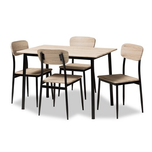 5pc Honore Mid Century Modern Light Wood Finished Matte Frame Dining Set Brown Baxton Studio