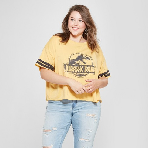 eeeb49c488d Women s Jurassic Park Plus Size Short Sleeve Logo Graphic T-Shirt  (Juniors ) Mustard