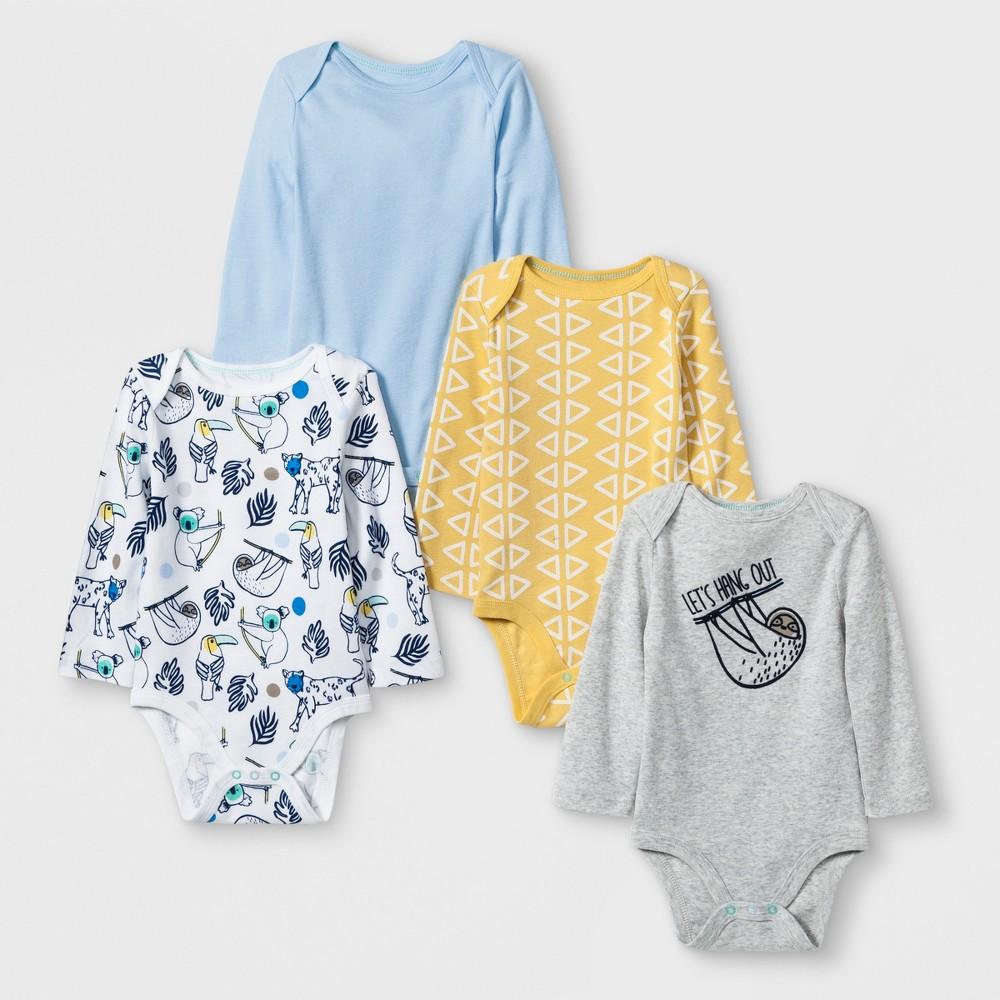Baby Boys' 4pk Long sleeve Bodysuit - Cloud Island Blue 3-6M