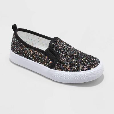 Girls' Ofra Glitter Slip-On Apparel Sneakers - Cat & Jack™ Black