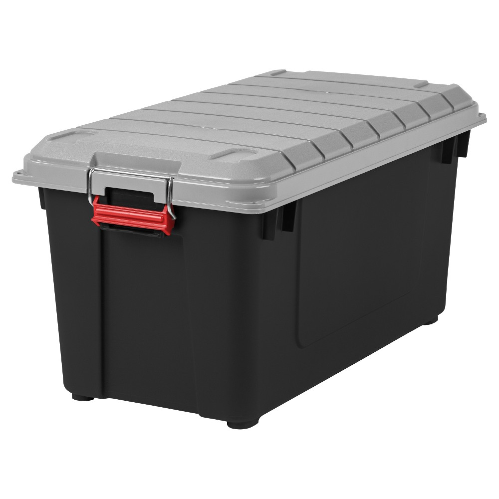 Image of IRIS 4pk 82qt Heavy Duty Plastic Storage Bin Black/Red