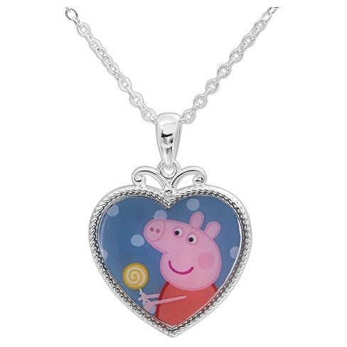 Kid's Silver Plated Peppa Pig Heart Pendant Necklace - image 1 of 2