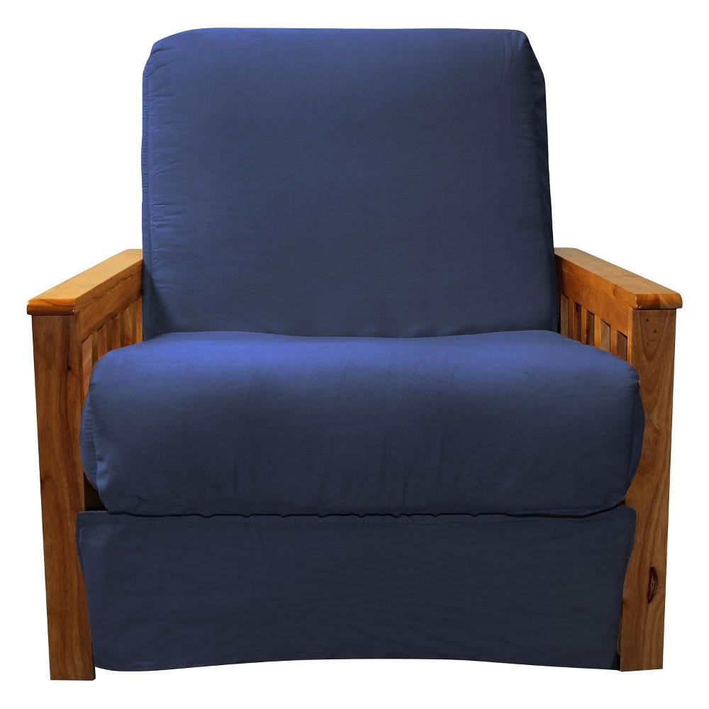 Mission Perfect Convertible Futon Sofa Sleeper - Oak Wood Finish - Epic Furnishings, Blue