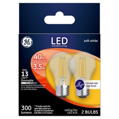 Ge Led 40watt A15 Ceiling Fan Light Bulb 2pk Soft White Clear Target