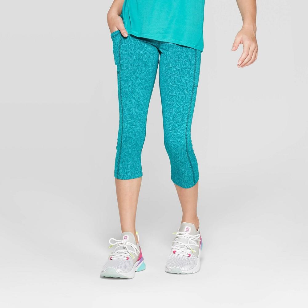 aa8667802be29d Girls Premium Performance Capri Leggings with Pockets C9 Champion Turquoise  Blue XS