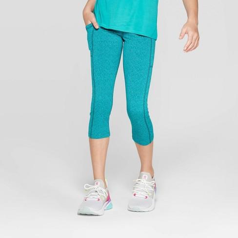 85e750bd1c9df Girls' Premium Performance Capri Leggings With Pockets - C9 Champion®  Turquoise Blue M : Target