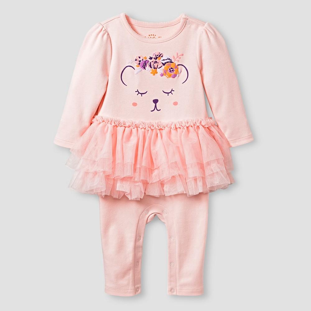Baby Girls' Long Sleeve Tutu Coverall - Cat & Jack Pink 3-6M, Loring Pink