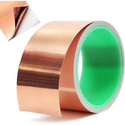 """Copper Foil Tape with Conductive Adhesive for Guitar and EMI Shielding, Slug Repellent, Crafts, Electrical Repairs (2"""" x 18ft)"""