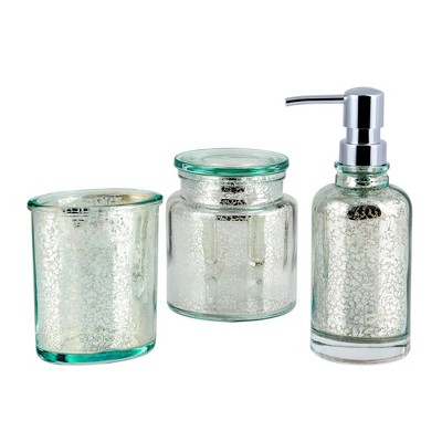 3pc Athena Lotion Pump/Toothbrush Holder/Cotton Ball Jar Set Blue/Silver - Allure Home Creations