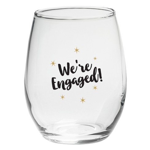 2118bee22dd 4ct Kate Aspen We're Engaged 15oz. Stemless Wine Glass
