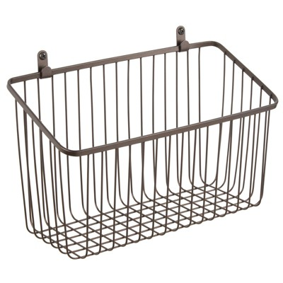 mDesign Metal Wall Mount Hanging Basket for Home Storage