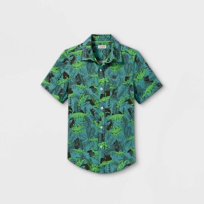 Boys' Challis Short Sleeve Button-Down Shirt - Cat & Jack™ Green/Black