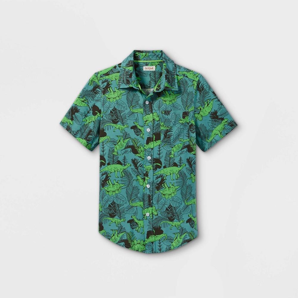Boys 39 Challis Short Sleeve Button Down Shirt Cat 38 Jack 8482 Green Black M