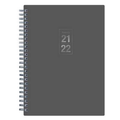 "2021-22 Academic Planner Notes 5.875""x8.625"" Flexible Plastic Cover Wirebound Weekly/Monthly Solid Gray - Blue Sky"