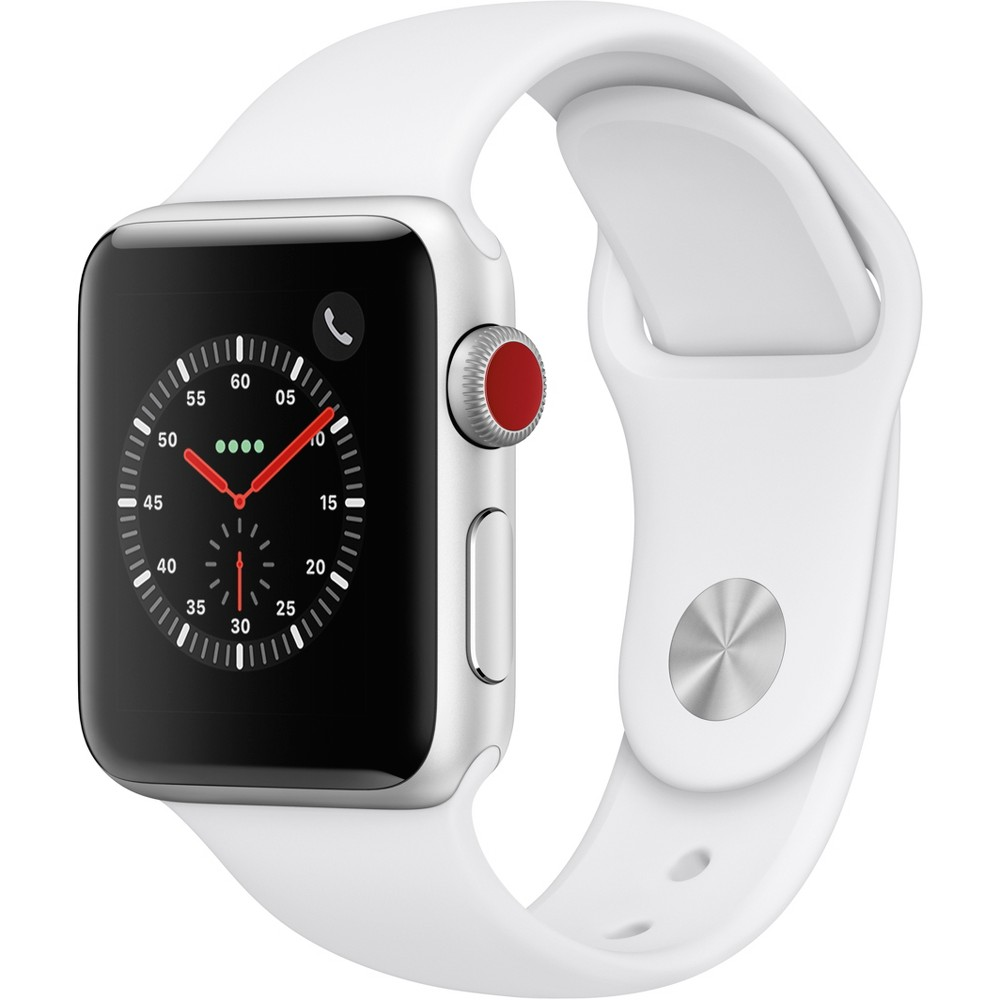 Apple Watch Series 3 Gps & Cellular 38mm Silver Aluminum Case with Sport Band - White, Light Silver Low and high heart rate notifications. Emergency Sos. New Breathe watch faces. Automatic workout detection. New yoga and hiking workouts. Advanced features for runners like cadence and pace alerts. New head-to-head competitions. Activity sharing with friends. Personalized coaching. Monthly challenges and achievement awards. Built-in cellular lets you use Walkie-Talkie, make phone calls, and send messages. Stream Apple Music and Apple Podcasts. And use Siri in all-new ways—even while you're away from your phone. With Apple Watch Series 3, you can do it all with just your watch. Selection may vary; see a sales associate for available models. Apple Watch Series 3 (Gps + Cellular) requires an iPhone 6 or later with iOS 12 or later. Wireless service plan required for cellular service. Apple Watch and iPhone service provider must be the same. Not all service providers support enterprise accounts; check with your employer and service provider. Roaming is not available outside your carrier network coverage area. Contact your service provider for more details. Apple Music requires a subscription. Iso standard 22810:2010. Appropriate for shallow-water activities like swimming. Submersion below shallow depth and high-velocity water activities not recommended. Color: Light Silver.