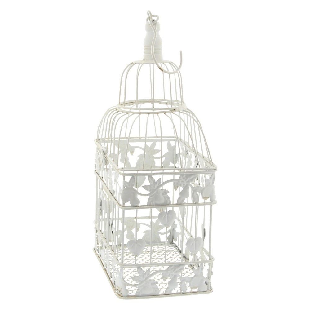 "Image of ""22""""H Iron Bird House - White - Olivia & May"""