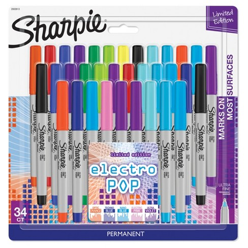 Sharpie Permanent Markers, 34ct ElectroPop - Multicolor - image 1 of 4