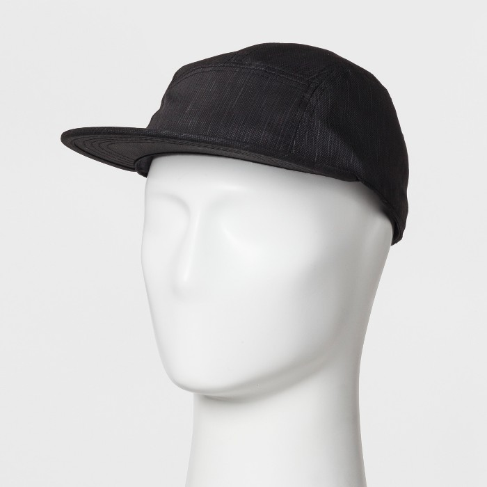 Men's Flat Brim Baseball Hat - Goodfellow & Co™ Black One Size - image 1 of 2