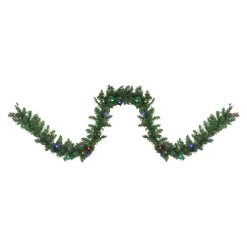 """Northlight 9' x 10"""" Pre-Lit Northern Pine Artificial Christmas Garland - Multi-Color LED Lights - image 1 of 3"""