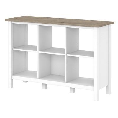 "30"" 6 Cube Mayfield Bookshelf Shiplap Gray/Pure White - Bush Furniture"