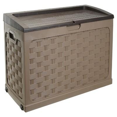 Rattan Deck Box 71 Gallon - Mocha Brown - Starplast
