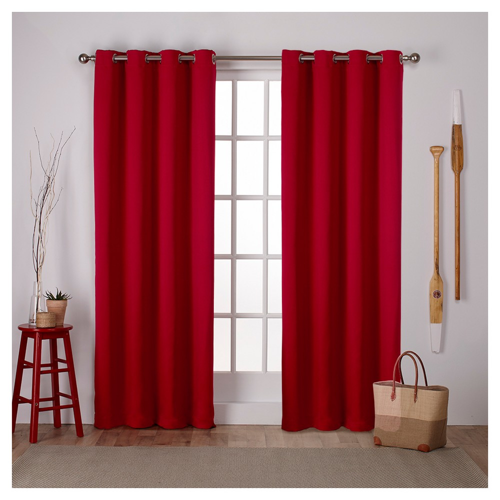 """Image of """"Set of 2 Sateen Twill Weave Insulated Blackout Grommet Top Window Curtain Panels Red (52 X 108"""""""") - Exclusive Home, Size: 52""""""""x108"""""""""""""""