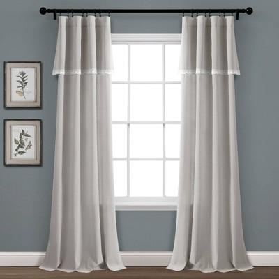 Linen Lace Window Curtain Panels - Lush Décor