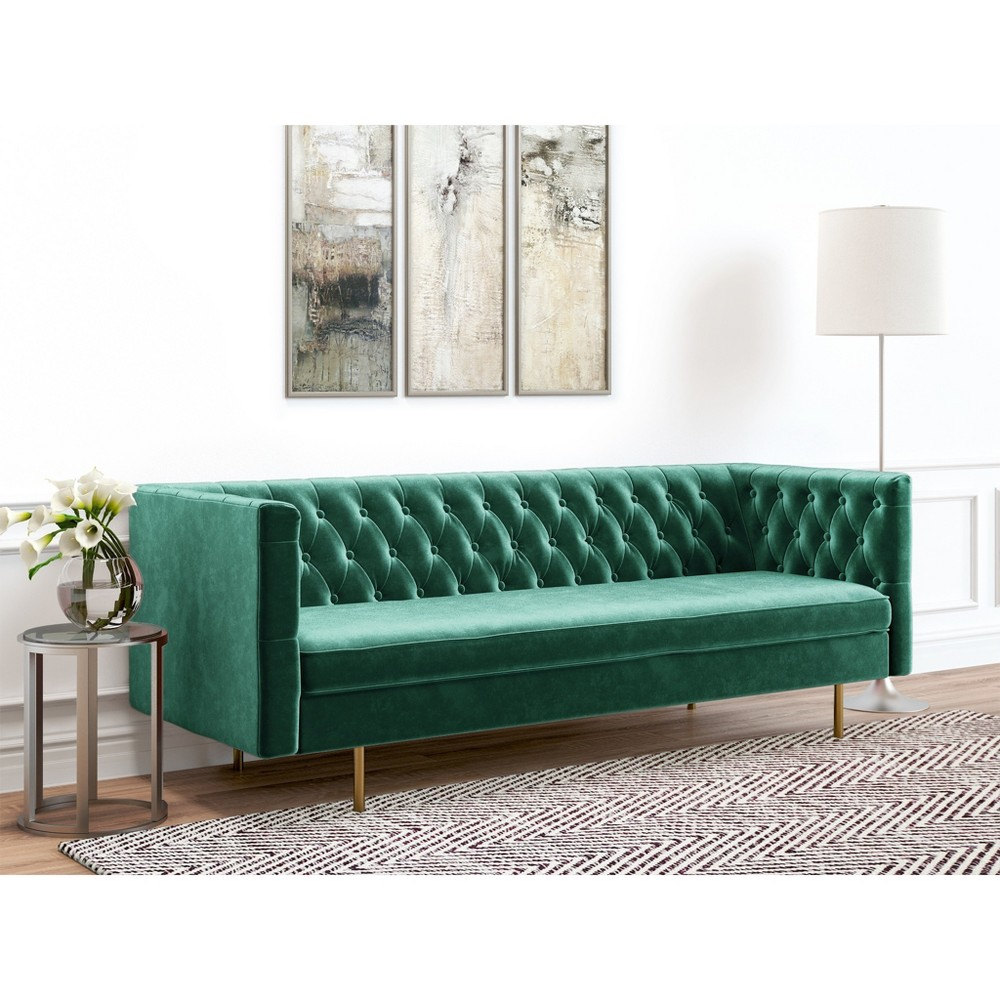Image of Belinda Tufted Velvet Sofa Emerald Green - AF Lifestlye, Green Green