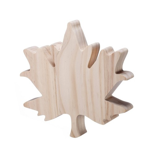 Hand Made Modern Chunky Wood Maple Leaf - image 1 of 4