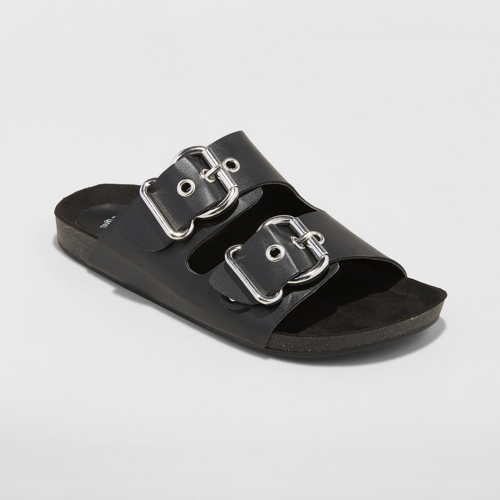 Women's Carson Wide Width Two Band Buckle Footbed Sandals - Wild Fable Black 7W, Size: 7 Wide