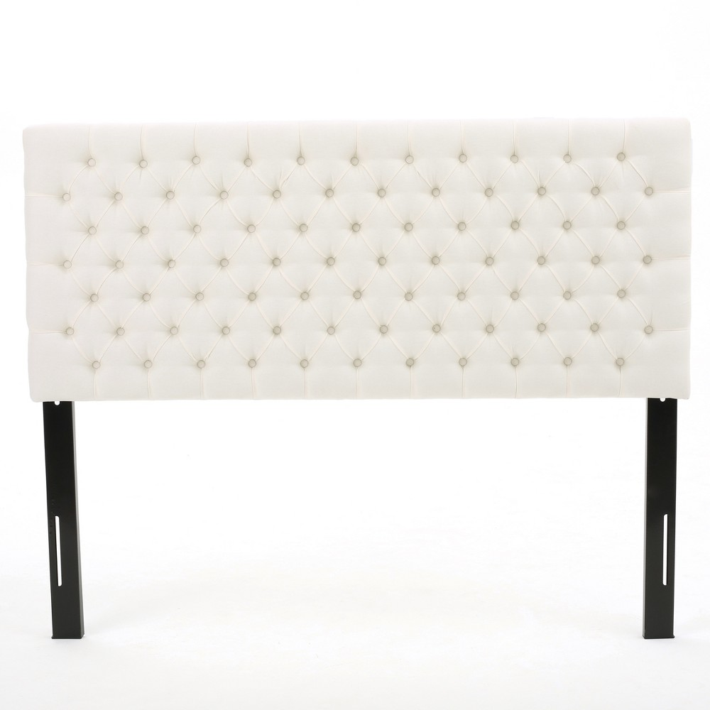 Queen/Full Jezebel Button Tufted Headboard Ivory White - Christopher Knight Home