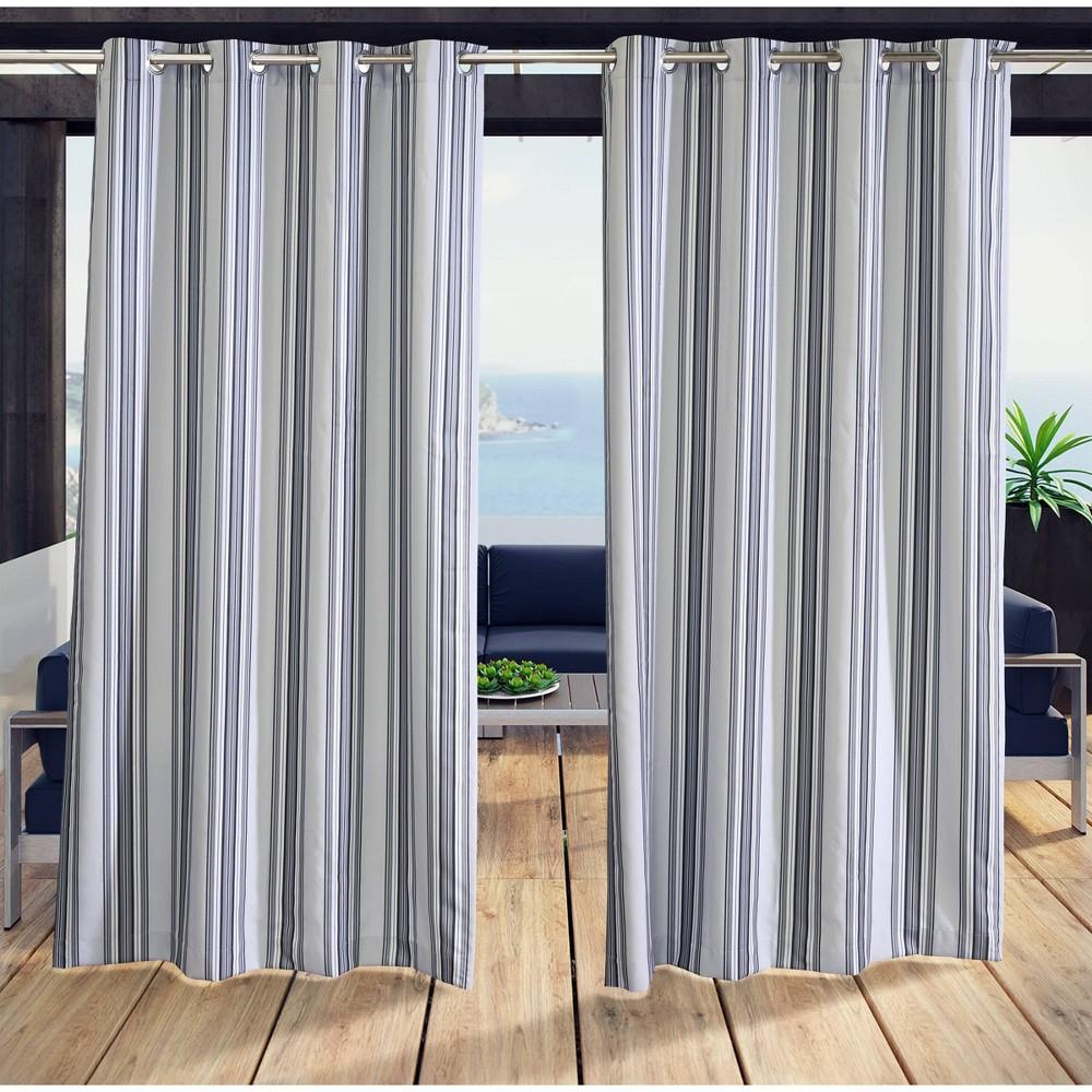 """Image of """"50""""""""x96"""""""" Gazebo Stripe Yarn Dye Indoor/Outdoor Grommet Top Curtain Panel Black Gray - Outdoor Décor"""""""