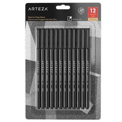 Arteza Fineliner Pens, Inkonic, Fine Line, Black - 12 Pack (ARTZ-8755)