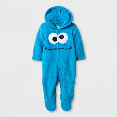 Baby Boys' Sesame Street Cookie Monster Long Sleeve Hooded Romper - Blue 3-6M