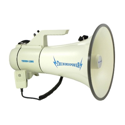 ThunderPower 45W 2000 Yard Sound Range PA Bullhorn Megaphone Speaker w/ 2 Modes, Aux Input, & DC Charger, White