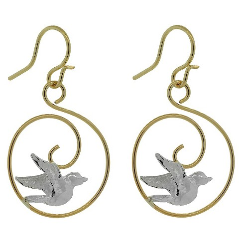 Women's Journee Collection 14k Goldfill Sterling Silver Bird Swirl Dangle Earrings - Two Tone - image 1 of 2