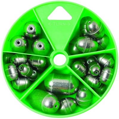 Eagle Claw Steel and Tin Egg Sinkers and Removable Split-Shots Dial Pack