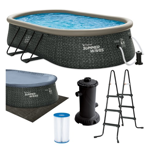 Summer Waves P11810421 18 x 10 Foot Oval Quick Set Inflatable Ring Above Ground Swimming Pool with Ladder and Filter Pump, Dark Gray Herringbone Print - image 1 of 4