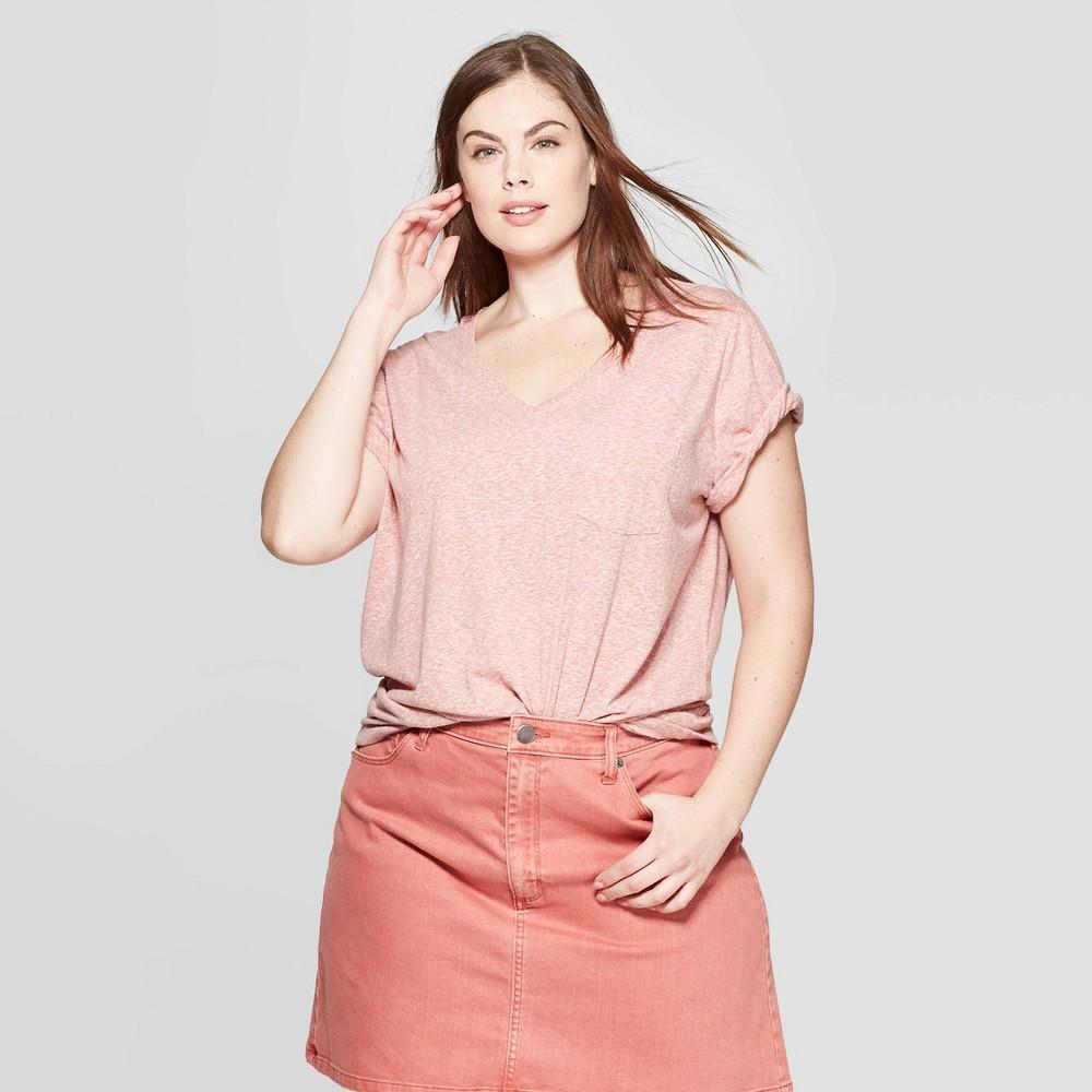 Women's Plus Size Short Sleeve Pocket V-Neck T-Shirt - Universal Thread Rose (Pink) 4X