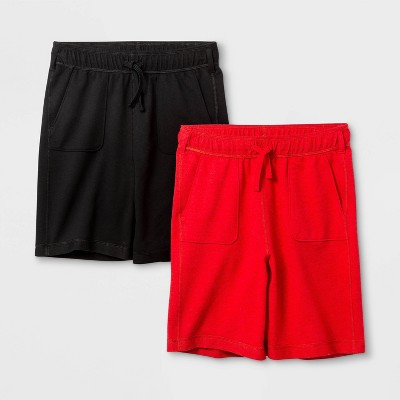 Boys' 2pk Adaptive Knit Pull-On Shorts - Cat & Jack™ Black/Red