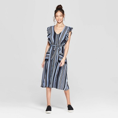 06a0d78d5349 Women s Striped Short Sleeve V-Neck Button Front Tie Midi Dress with  Pockets - Xhilaration