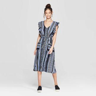 Women's Striped Short Sleeve V-Neck Button Front Tie Midi Dress with Pockets - Xhilaration™ Sky Blue S
