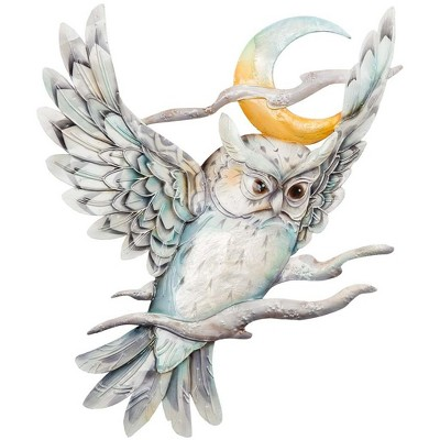 Wind & Weather Metal and Capiz Owl and Moon Wall Art
