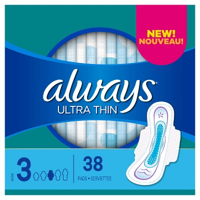 Always Ultra Thin Pads Extra Super Long Absorbency Unscented with Wings - Size 3 - 38ct